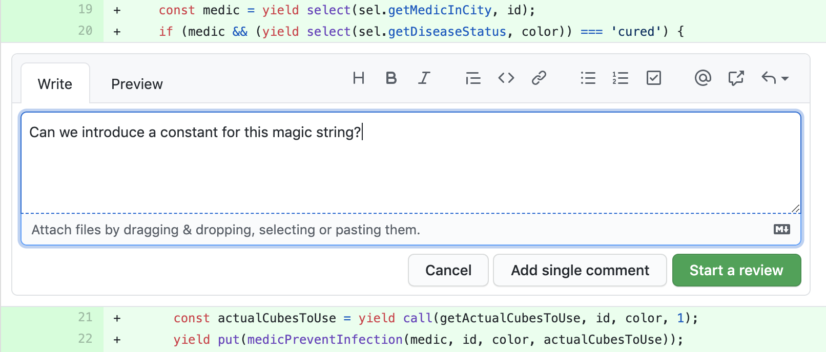 "Comment field on a GitHub PR saying ""Can we introduce a constant for this magic string?"""